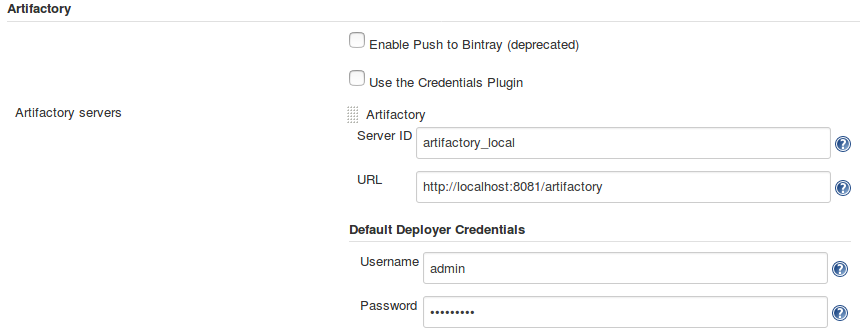 Configuration of the Jenkins Artifactory Plug-in